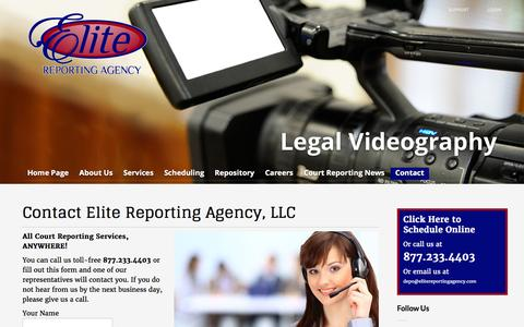 Screenshot of Contact Page elitereportingagency.com - Contact Elite Reporting Agency, LLC - Elite Court Reporting Agency - captured Jan. 27, 2016