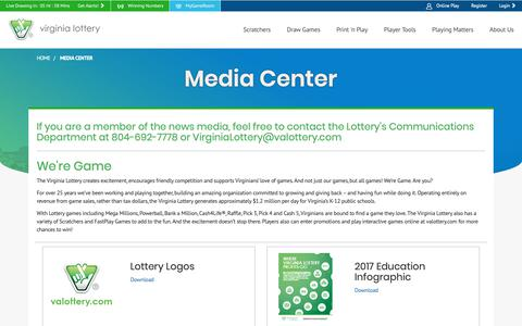 Screenshot of Press Page valottery.com - Official Home of the Virginia Lottery - captured Jan. 27, 2019