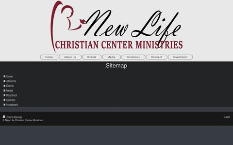 Screenshot of Site Map Page newlifeccm.org - New Life Christian Center Ministries - Home - captured Nov. 29, 2016