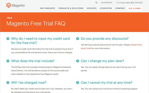 Screenshot of FAQ Page magento.com - FAQ page | Magento - captured June 20, 2017