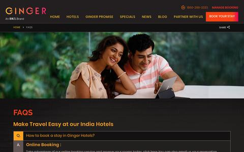 Screenshot of FAQ Page gingerhotels.com - India Hotels Frequently Asked Questions | Ginger Hotels - captured Sept. 30, 2018