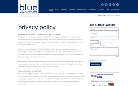 Screenshot of Privacy Page blueinteractiveagency.com - Privacy Policy - Blue Interactive Agency - captured Oct. 29, 2014
