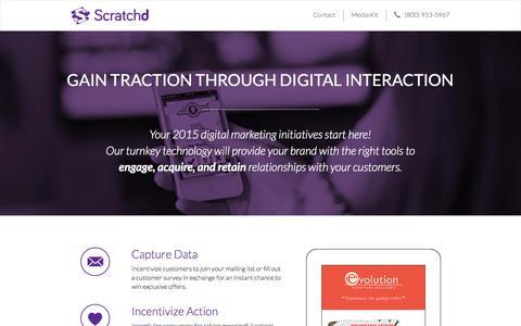 Screenshot of Home Page scratchd.ca - Scratchd Inc. | Digital Scratch & Win - captured Sept. 17, 2015