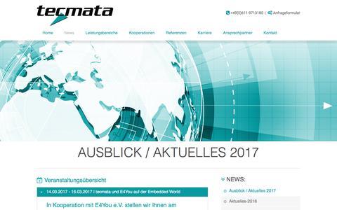 Screenshot of Press Page tecmata.com - Aktuelles 2017 - Embedded World 2017 - tecmata GmbH / Embedded Software - Engineering | Ausblick / Aktuelles 2017 - captured Dec. 22, 2016