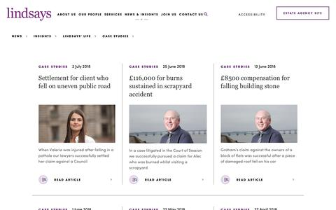Screenshot of Case Studies Page lindsays.co.uk - Lindsays | Case Studies - captured July 13, 2018