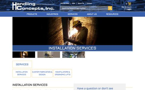 Screenshot of Services Page handlingconcepts.com - Installation Services and Custom Fabrication - Handling Concepts - captured Sept. 26, 2018