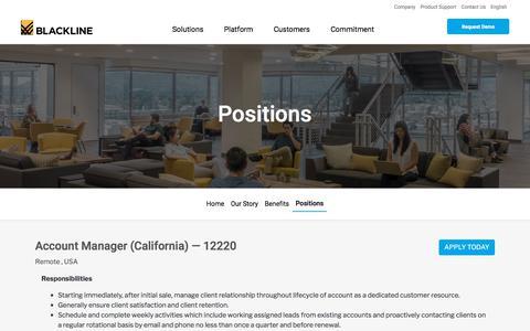 Screenshot of Jobs Page blackline.com - Account Manager (California)| Remote, United States, United States - captured Nov. 29, 2019