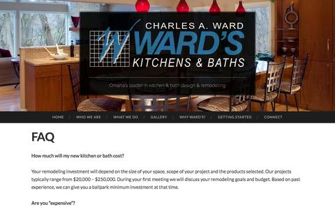 Screenshot of FAQ Page wardskitchens.com - FAQ | Ward's Kitchens & Baths, Inc. - captured Feb. 23, 2016