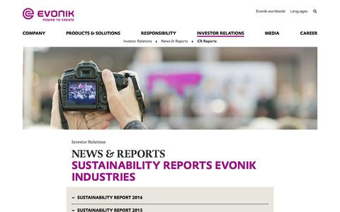 Evonik Industries - Specialty chemicals - Publications - CR Report - Evonik Industries AG