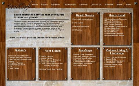 Screenshot of Services Page stonecraftstudios.com - StoneCraft Studios | Architectural Coverings | Fireplace Installer | Custom Fireplace Inserts | Dealer of Rocksteps & SCs Rock Steps | Kingsman Fireplace Dealer | Mendota Fireplace Dealer | Milwaukee Area Fireplace Store | Wisconsin Fireplace Store | - captured Oct. 20, 2018
