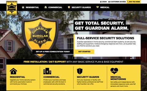 Screenshot of Home Page guardianalarm.com - Guardian Alarm - Residential & Commercial SecurityGuardian Alarm - captured May 25, 2017