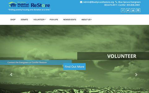 "Screenshot of Home Page bluesprucerestore.org - Blue Spruce Habitat ReStore – ""Ending poverty housing one donation at a time "" - captured April 18, 2016"