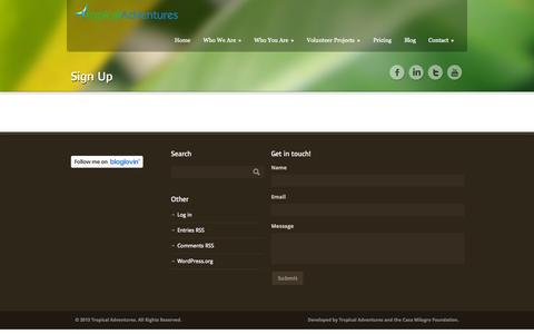 Screenshot of Signup Page tropicaladventures.com - Tropical Adventures   » Sign Up - captured Oct. 1, 2014
