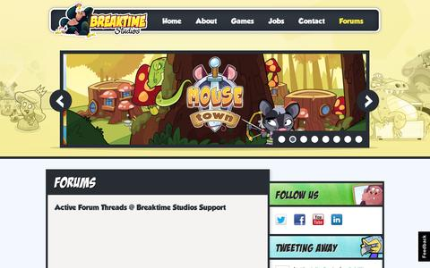 Screenshot of Support Page breaktimestudios.com - Breaktime Studios  » Forums - captured Sept. 12, 2014