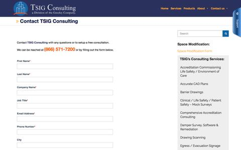 Screenshot of Contact Page tsigconsulting.com - Contact TSIG Consulting Inc   We Add Value to Your World - captured Aug. 15, 2019