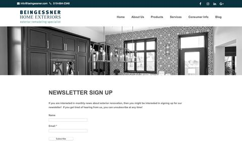 Screenshot of Signup Page beingessner.com - Newsletter Sign Up | Beingessner Home Exteriors - captured Oct. 5, 2018