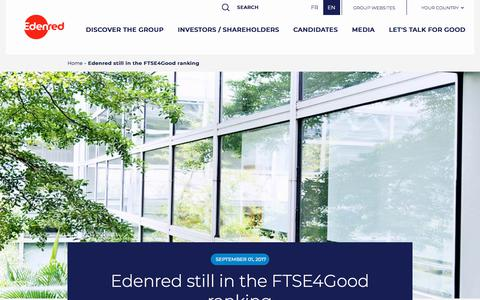 Screenshot of Press Page edenred.com - Edenred still in the FTSE4Good ranking   Edenred - captured July 8, 2019