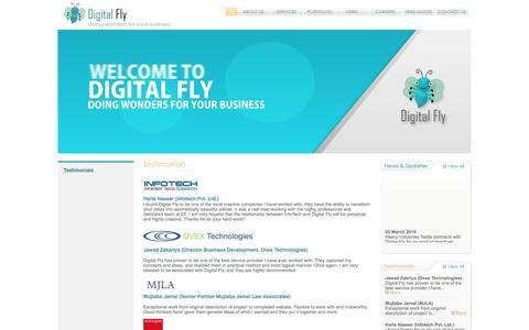 Screenshot of Testimonials Page digitalfly.biz - Testimonials - captured Sept. 30, 2014