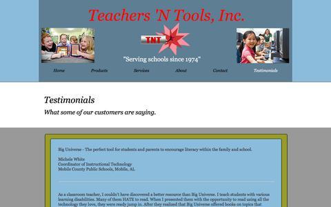 Screenshot of Testimonials Page teachersntools.com - Teachers 'N Tools Testemonials - captured Oct. 26, 2017