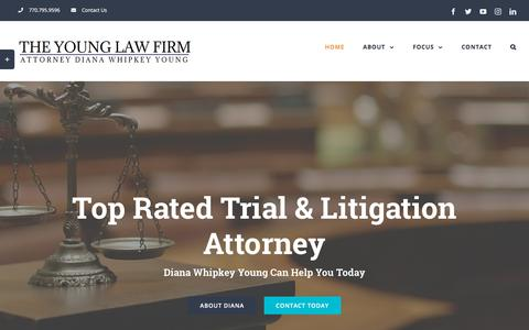 Screenshot of Home Page dianawhipkeyyoung.com - Marietta Attorney | Family Law | Criminal | Injury | Personal Injury - captured Sept. 24, 2018