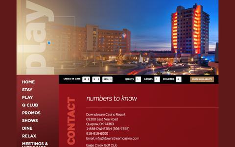 Screenshot of Contact Page downstreamcasino.com - Downstream Casino Resort - captured Oct. 9, 2018