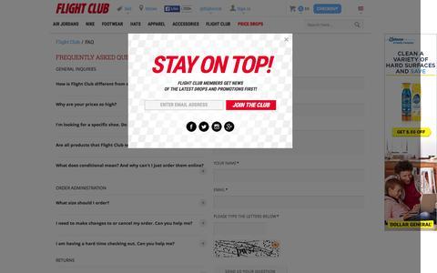 Screenshot of Contact Page flightclub.com - FAQ    Flight Club - captured Oct. 20, 2015
