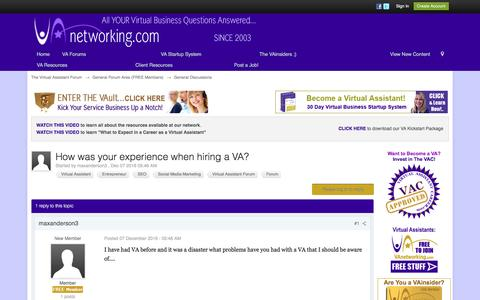 Screenshot of vanetworking.com - How was your experience when hiring a VA? - General Discussions - The Virtual Assistant Forum - captured Dec. 10, 2016