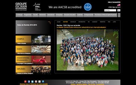 Screenshot of Home Page escdijon.eu - Groupe ESC Dijon Bourgogne   École Supérieure de Commerce - captured Sept. 23, 2014