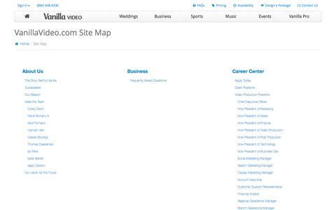 Screenshot of Site Map Page vanillavideo.com - Sitemap | VanillaVideo.com - captured Dec. 18, 2016