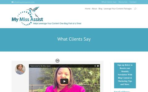 Screenshot of Testimonials Page mymissassist.com - Testimonials about Missy Tincher of My Miss Assist - captured Oct. 2, 2014