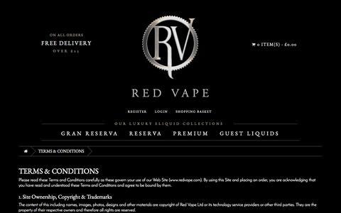 Screenshot of Terms Page redvape.com - Terms and Conditions | Red Vape.com - captured Dec. 12, 2016