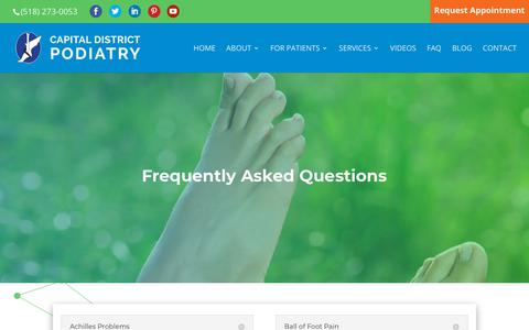 Screenshot of FAQ Page capitaldistrictpodiatry.com - Frequently Asked Questions   Capital District Podiatry - captured Sept. 26, 2018