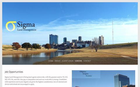 Screenshot of Jobs Page sigmalandman.com - Careers — Sigma Land Managment - captured Nov. 29, 2016