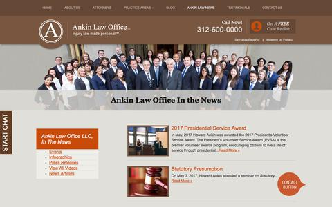 Screenshot of Press Page ankinlaw.com - Illinois Legal News | Ankin Law Offices in Chicago | Howard Ankin - captured July 12, 2017