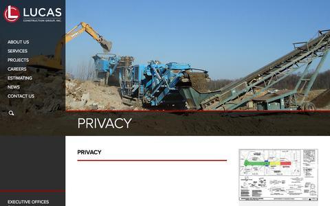 Screenshot of Privacy Page lucascg.com - PRIVACY - LUCAS CONSTRUCTION GROUPLUCAS CONSTRUCTION GROUP - captured Sept. 11, 2017