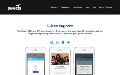 Screenshot of Developers Page playseeds.com - Built for Engineers — Seeds - captured Oct. 19, 2017