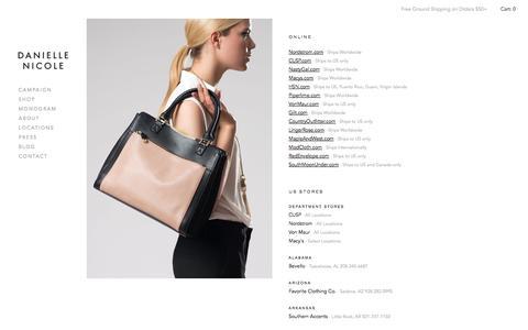 Screenshot of Locations Page danielle-nicole.com - DANIELLE NICOLE - captured Oct. 31, 2014