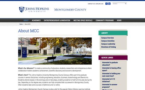 Screenshot of About Page jhu.edu - About MCC - Johns Hopkins University Montgomery County Campus - captured Sept. 16, 2014
