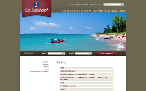 Screenshot of Site Map Page Support Page thehomesteadresort.com - Sitemap - The Homestead   The Homestead - captured Oct. 26, 2014