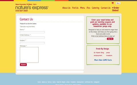 Screenshot of Contact Page natures-express.com - Contact Us | Natures Express - captured Sept. 30, 2014