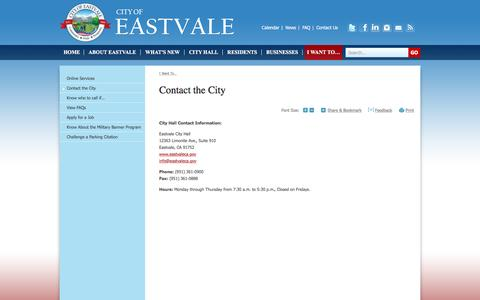 Screenshot of Contact Page eastvaleca.gov - City of Eastvale, CA : Contact the City - captured Jan. 18, 2016