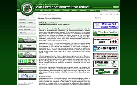 Screenshot of Terms Page olchs.org - Website Terms and Conditions - Oak Lawn Community High School - captured June 5, 2016