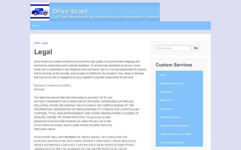 Screenshot of Terms Page drive-israel.com - Legal  | Drive Israel - captured April 12, 2016