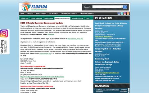 Screenshot of Team Page fhsaa.org - FHSAA.org | Leadership Conference - captured Sept. 14, 2016