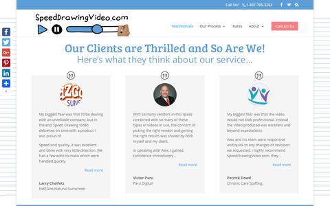 Screenshot of Testimonials Page speeddrawingvideo.com - Read Our Testimonials - captured June 15, 2017
