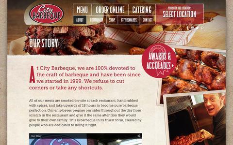 Screenshot of citybbq.com - Our Story - City Barbeque - captured Oct. 3, 2015