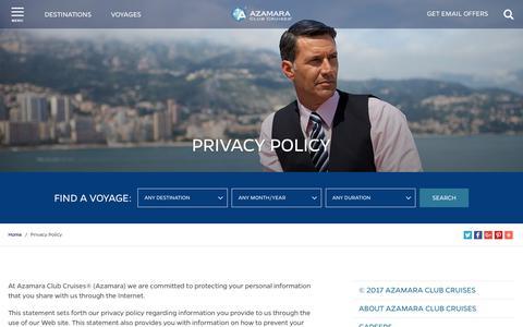 Screenshot of Privacy Page azamaraclubcruises.com - Privacy Policy | Azamara Club Cruises - captured Oct. 10, 2017