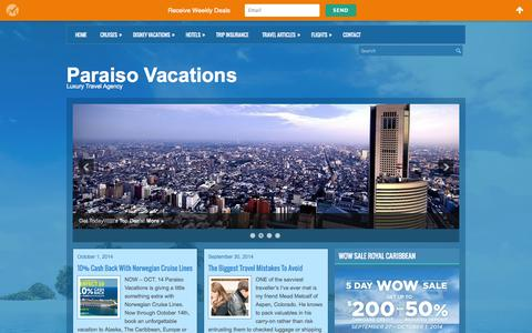 Screenshot of Home Page vacationparaiso.com - Paraiso Vacations | Travel Agency - captured Oct. 1, 2014
