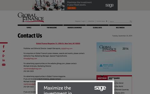 Screenshot of Contact Page gfmag.com - Contact Us | Global Finance Magazine - captured Sept. 23, 2014