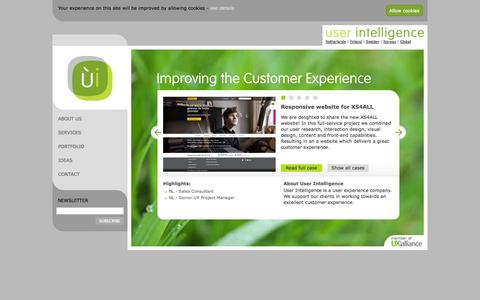 Screenshot of Home Page userintelligence.com - User Intelligence   Improving the Customer Experience   User Intelligence - captured Oct. 7, 2014